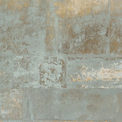Walls Republic - Henge Cool Grey Wallpaper R1428, double roll - Henge is faux finish metal textured wallpaper. It has a rustic corroded stone look for an unmatched texture and depth. Use it in your office or living room.