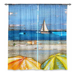 """DiaNoche Designs - Window Curtains Lined by Danny Phillips 100% Chance of Sun Showers - Purchasing window curtains just got easier and better! Create a designer look to any of your living spaces with our decorative and unique """"Lined Window Curtains."""" Perfect for the living room, dining room or bedroom, these artistic curtains are an easy and inexpensive way to add color and style when decorating your home.  This is a woven poly material that filters outside light and creates a privacy barrier.  Each package includes two easy-to-hang, 3 inch diameter pole-pocket curtain panels.  The width listed is the total measurement of the two panels.  Curtain rod sold separately. Easy care, machine wash cold, tumble dry low, iron low if needed.  Printed in the USA."""
