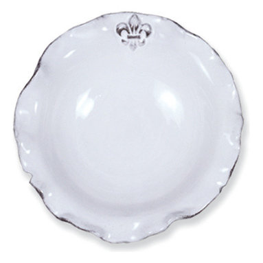 Abigails - Fleur de Lis Soup Bowl, Set of 4 - Italian made pottery has always been special and this Fleur de Lis Collection lives up to its expectations.  Enjoy your next great soup or pasta from this attractive handmade bowl.  Dishwasher, Microwave, & Oven Safe.
