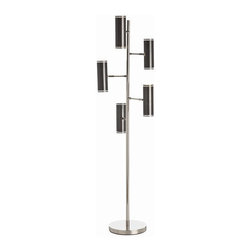 """Arteriors - Arteriors Home - Pruitt 5 Light Metal Floor Lamp - 79664 - Arteriors Home - Pruitt 5 Light Metal Floor Lamp - 79664 Features: Pruitt Collection Floor LampMetal Finish5 Number of LightsAntique dark bronze metal shadesMetalFull range dimmerFoot switchHandcrafted. UL and CUL listed. Variations in finish may occurAccepts (5) 40W bulbs (not included)Wired for 110-120V Some Assembly Required. Dimensions: 24"""" W X 69"""" H"""