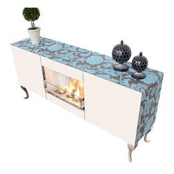 Terra Flame - Vintage Console Fireplace - Who says you have to choose between a chic console and a cozy fire? This alluring piece is the best of both worlds. And thanks to clean-burning fuel technology, there's no installation necessary so you can move it as you please. Made to order.
