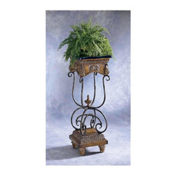 Butler - Curved Metal Pedestal w Black/Green Veneer To - Use this pedestal to display plants and other items with style and elegant. The curved metal frame has a elegant antique finish that is sure to match with your d̩cor. A black and green veneer top makes a nice contrast. * Antique finished metal and resin components. Black/green fossil stone veneer top. 16 in. W x 16 in. D x 42 1/2 in. H