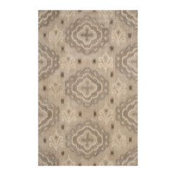 Safavieh - Alexis Hand Tufted Rug, Silver 5' X 8' - Construction Method: Hand Tufted. Country of Origin: India. Care Instructions: Vacuum Regularly To Prevent Dust And Crumbs From Settling Into The Roots Of The Fibers. Avoid Direct And Continuous Exposure To Sunlight. Use Rug Protectors Under The Legs Of Heavy Furniture To Avoid Flattening Piles. Do Not Pull Loose Ends; Clip Them With Scissors To Remove. Turn Carpet Occasionally To Equalize Wear. Remove Spills Immediately. Safavieh's artistry is vividly displayed in the Wyndham collection with designs ranging from contemporary florals to traditional global motifs. Each richly-hued rug is hand-tufted by master weavers in India of top quality wool. Several designs recreate the one-of-a-kind look of fashionable over-dyed antique rugs using a special multi-colored yarn that is meticulously colored using ages-old pot dyeing techniques. After the dye is carefully applied to each strand of wool, touches of organic viscose are added for soft silky luster as special highlights accents.