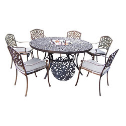 """Oakland Living - Oakland Living Mississippi 60"""" 7-Piece Dining Set with Ice Bucket - Oakland Living - Patio Dining Sets - 220521208AB - About This Product:"""