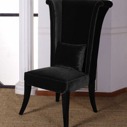 "Armen Living - Mad Hatter Dining Chair, Black - Use this regal chair in the dining room or the living room. The deep black velvet color suites many settings.; Dining chair from the Mad Hatter collection; Deep brown velvet color; Stylish and inventive, manufactured to the highest quality standards; Comes with standard 1 year limited warranty; Dimensions: 52""H x 31""W x 28""D"