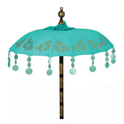 "Balinese Turquoise Chrysanthemum Umbrella - Based on traditional Balinese temple umbrellas, this popular style has hand painted gold chrysanthemums around the edge and hanging capiz shell dangles from each tip. Terrace size, Dimensions: 70"" Diameter x 100"" H."