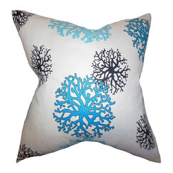 The Pillow Collection - Coraline Coastal Pillow Aqua - Decorate your home with this coastal-inspired accent pillow. This fun throw pillow features coral patterns in shades of aqua blue and black against a white background. This indoor pillow is great for adding comfort to your sofa, bed or couch. Made of 100% soft and high-quality cotton fabric. Crafted in the USA.