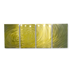 Miles Shay - Metal Wall Art Decor Abstract Contemporary Modern Sculpture- Rippling Gold - This Abstract Metal Wall Art & Sculpture captures the interplay of the highlights and shadows and creates a new three dimensional sense of movement as your view it from different angles.