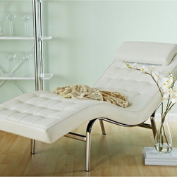 Euro Style - Euro Style Valencia Leather Chaise Lounge - 04064 - Shop for Chaises from Hayneedle.com! About the Valencia Leather Chaise LoungeRetro style is here to stay. The timelessness of the Valencia Leather Lounge Chair is evident from its curves to its leather upholstery. Relax on the large soft bed of this chaise that is billowed with many buttons giving you lots of room to spread out. There is even an upholstered headrest for added comfort. Stunning silver chromed steel forms the frame. Choose the perfect color to match your interior.About Euro StyleEuro Style is more than a brand name. It's a complete design approach for furnishing the living room dining room kitchen and office. Most Euro Style furniture can be assembled in under 15 minutes. Some can be assembled in under five minutes. Assembly instructions and the few tools you might need come inside the carton. Today there are hundreds of Euro Style products with new ones arriving every month. You'll discover Euro Style offers the right design at the right price.