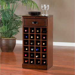 None - Canton Modular Wine Storage Unit - This Canton wine storage unit offers styling,function,and versatility with a hardwood construction covered in spice finished veneers and room for 24 bottles of wine. A pull-out work surface and gliding drawer finish this modular storage unit.