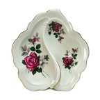 Richmond Bone China on base - Consigned Snacks Serving Bowl with Handle with Rose Decor by Richmond - Leaf shaped snacks serving bowl with two compartments and a handle, with printed rose decoration and gilded.This is a vintage One of a Kind item. Some wear and imperfections are to be expected, as described.