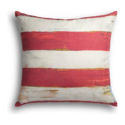 """Carrier Collective - """"Red Stripe"""" Decorative Pillow - Crafted of linen/cotton fabrics, Carrier Collective Art Pillows are created from the original Mixed Media and Acrylic Paintings of the artist/owner Angie Carrier."""