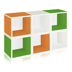 Modular Cubes Storage, Green, Orange, White