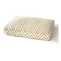 Chevron Dog Bed - High fashion for Fido. With its classic and distinctive chevron pattern, the Chevron Dog Bed invites your favorite friend to lie down in style. The soft, natural coloration allows the bed to blend beautifully with the transitional appointments of your master suite, great room, media room, or whatever special corner your canine calls home.