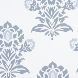 Serena & Lily - Jaipur Wallpaper English Blue - A block-print inspired floral that 's pure romance. Rendered in dusty blues, it 's a perfect punch of color on pure white. Printed by one of the country 's most historic wallcovering manufacturers on presses that date back to 1895, each roll celebrates the rich craft of wallpaper making.