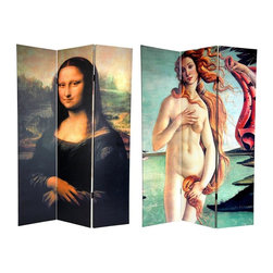 Oriental Unlimted - Reversible 6 ft. Tall Mona Lisa & Botticelli - One double-sided divider, both sides shown in image. This beautiful room divider needs no introduction. It features 2 instantly recognizable, iconic images from the Italian Renaissance. The front is a section of Botticelli's The Birth of Venus, circa 1482-1486, a provocative depiction of the Roman goddess of beauty modestly covering herself. The back is an enlarged version of Di Vinci's The Mona Lisa, circa 1503-1506, with her legendary wry smile. This pair of masterpieces provides you with attractive interior design elements for your living room, bedroom, dining room or kitchen. This 3 panel screen has different images on each side. High quality wood and fabric covered room divider. Well constructed, extra durable, kiln dried Spruce wood frame panels, covered top to bottom, front, back and edges. With tough stretched poly-cotton blend canvas. 2 Extra large, beautiful art prints - printed with fade resistant, high color saturation ink, creating 2 stunning, long lasting, vivid images, powerful visual focal points for any room. Amazingly inexpensive, practical, portable, decorative accessory. Almost entirely opaque, double layer of canvas, providing complete privacy. Easily block light from a bedroom window or doorway. Great home decor accent - for dividing a space, redirecting foot traffic, hiding unsightly areas or equipment, or for providing a background for plants or sculptures, or use to define a cozy, attractive spot for table and chairs in a larger room. Assembly required. 15.75 in. W x 70.88 in. H (each panel)