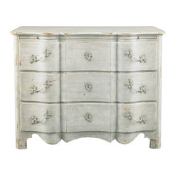 Lillian August - Lillian August Brielle Chest LA99362-01 - Reproduction of a fine early 18th century french regency commode with arbalette form. The finish is a hand-textured bone white with period style hardware and escutcheons.