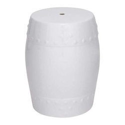 "Benzara - Ceramic Stool 18""H for Outdoor and Indoor Decor in White Color - Ceramic Stool 18""H for Outdoor and Indoor Decor in White Color. A delightful white stool, this product compliments the quiet corner of your living room or as a plant stand in the lawn equally well. It comes with a dimension of 18""Height. Some assembly may be required."