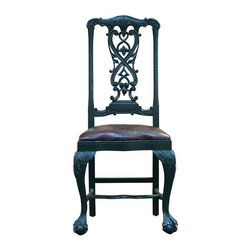 Pre-owned Green Painted Dining Chair with Leather Seat - A single ornate Victorian style dining chair with some Gothic Revival elements. This lad hails from either Dutch or English origin. Circa late 19th Century. Would make a sassy, classy desk chair!