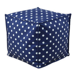 """Chooty - Chooty Ikat Dot Sunshine Blue-Natural Collection 17"""" Square Seamed Beads Hassoc - Insert EPS Styrofoam Beads, Fabric Content 100 Cotton , Color Navy, White, Ottoman 1"""