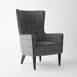 Victor Chair, Buttoned, Window Pane Plaid - The wingback shape of this chair and the contrasting buttons make it a favorite of mine. I love the cozy print and the smooth, narrow legs.