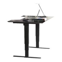 "Jesper Office Furniture - 100 Series Height Adjustable 65"" Sit-Stand Desk in Espresso - Features:"
