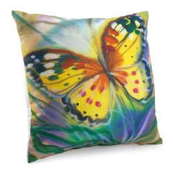 W Butterfly 18X18 Pillow (Indoor/Outdoor) - 100% polyester cover and fill.  Suitable for use indoors or out.  Made in USA.  Spot Clean only