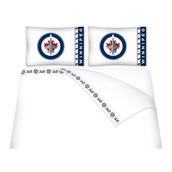 Sports Coverage - Sports Coverage NHL Winnipeg Jets Microfiber Hem Sheet Set - Twin - NHL Winnipeg Jets Microfiber Hem Sheet Set have an ultrafine peach weave that is softer and more comfortable than cotton. Its brushed silk-like embrace provides good insulation and warmth, yet is breathable.   The 100% polyester microfiber is wrinkle-resistant, washes beautifully, and dries quickly with never any shrinkage. The pillowcase has a white on white print beneath the officially licensed team name and logo printed in vibrant team colors, complimenting the new printed hems.    Features: -  Weight of fabric - 92GSM ,  - Soothing texture and 11 pocket,  -  100% Polyester,  - Machine wash in cold water with light colors,  - Use gentle cycle and no bleach ,  - Tumble-dry,  - Do not iron ,