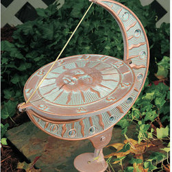 Sun and Moon Sundial - Mark the passage of time with the unique design of the Sun and Moon Sundial. Crafted from rust-free recycled aluminum, this piece will be a lasting addition to your home or garden.