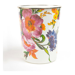 Flower Market Enamel Waste Bin - White | MacKenzie-Childs - Yes, it would make a beautiful place to throw trash. But if you decide this one's too pretty for discarded papers, try it for storing flip flops, knitting, tennis balls, magazines, fresh flowers or as a planter for a fern. Color glazed in black, blue, green or white, each Flower Market Enamel Waste Bin is decorated with hand-applied fanciful botanical transfers that recall a lush English garden in the peak of summer.