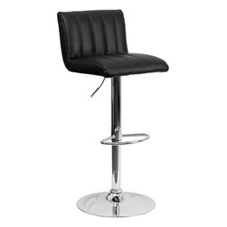 """Flash Furniture - Contemporary Black Vinyl Adjustable Height Bar Stool with Chrome Base - This designer chair will make an attractive statement in the home. The height adjustable swivel seat adjusts from counter to bar height with the handle located below the seat. The chrome footrest supports your feet while also providing a contemporary chic design. Counter Height or Bar Stool; Black Vinyl Upholstery; Vertical Line Design Upholstery; Low Back Height; Swivel Seat; Height Adjustable Seat with Gas Lift; Foot Rest; Chrome Base; Base Diameter: 17.625""""; CA117 Fire Retardant Foam; Designed for Residential Use; Overall dimensions: 16.5""""W x 19.5""""D x 33.75"""" - 42.25""""H"""