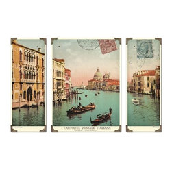 Uttermost Venice Grand Canal S/3 - These prints are laminated to wood boards. Each board has antique brass corner accents and decorative screws. Center panel is 17x23 and each side panel is 9x23.
