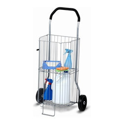 2-Tier All-Purpose Cart - Honey-Can-Do CRT-01383 Multi-Purpose 2-Tier Wheeled Utility Cart. You don't have to break your back or the bank with this all-purpose foldable cart. Perfect for toting groceries, laundry, cleaning supplies, or picnic gear, this cart is sizeable enough to hold all your belongings and functional enough to easily navigate curbs and steps. The 2-tier feature lets you use the entire height of the cart for taller items, or engage the top shelf to stack crushable items such as groceries without damage.  This all-purpose cart has a sturdy steel frame with rubber comfort grip handle to carry a 50-pound load with ease. When not in use, it folds flat in seconds and tucks away neatly.
