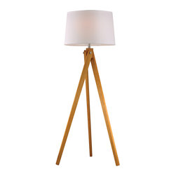 Dimond Lighting - Wooden Tripod 1-Light Floor Lamp, Natural Wood Tone - Dimond Lighting D2469 Wooden Tripod 1-Light Floor Lamp in Natural Wood Tone
