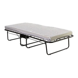 "Dream On Me - Folding Bed - The Dream On Me Foldable Rollaway Guest Bed is an ideal solution to temporary sleeping accommodations. Whether it's a last minute overnight guest, family reunion or the holidays, this bed will come in handy. This super strong yet very maneuverable portable bed comfortably accommodates all sleeping needs. When not in use, this bed easily folds away for storage in seconds. This bed has been made with high quality craftsmanship, which includes a steel bed frame, a 4'' foam mattress , and 4 wheels with locking mechanism. Owning this durable bed may leave you with more guests than you bargained for. Its maximum weight capacity is 250 lbs. This bed is recommended for adult use. Features: -Light weight frame.-Portable and easily stored.-Comes with a 4'' foam mattress.-4 Wheels with locking mechanism.-Distressed: No.-Weight Capacity: 250 lbs.-Commercial Use: No.Specifications: -FSC Certified: No.-EPP Compliant: No.-CPSIA or CPSC Compliant: Yes.Dimensions: -Overall Height - Top to Bottom: 12"".-Overall Width - Side to Side: 30"".-Overall Depth - Front to Back: 72"".-Overall Product Weight: 26 lbs.Assembly: -Assembly Required: Yes."