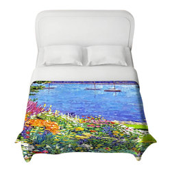 DiaNoche Designs - Sailboat Bay Garden Duvet Cover - Lightweight and super soft brushed twill duvet cover sizes twin, queen, king. Cotton poly blend. Ties in each corner to secure insert. Blanket insert or comforter slides comfortably into Duvet cover with zipper closure to hold blanket inside. Blanket not Included. Dye Sublimation printing adheres the ink to the material for long life and durability. Printed top, khaki colored bottom. Machine washable. Product may vary slightly from image.