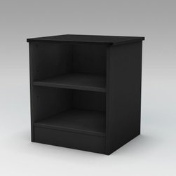 Step One Nightstand - Black - The Step One Nightstand - Black with its simple design and easy-access shelving is an ideal bedside companion - everything you might need can be within easy reach at any hour of the night or lazy weekend morning. But it's also a handy piece for other rooms too - use it as a small TV stand in kids rooms or as additional storage in the bathroom. Its unfettered design lets it slip in easily into any decor anywhere you need a little extra space to tuck things away.The nightstand is crafted from durable long-lasting engineered wood a certified Environmentally Preferred Product that transforms recycled fibers into strong panels. They're shaped cleanly with straight modern lines and finished in a sleek contemporary black. Two open shelving areas offer plenty of space for tissues nightly reading and other necessities and a wide simple tabletop has room for a reading lamp and glass of water.The nightstand arrives ready to assemble and includes a five-year limited manufacturer's warranty. Whether you fill it with bedside essentials or stock it with fluffy guest towels we're sure you'll wonder how you ever got by without it.About South Shore FurnitureA recognized leader in North American furniture manufacture South Shore Industries was established in 1940 and has been making furniture for three generations. Employing a team of over 1 000 employees in three factories in Quebec their assembled and ready-to-assemble furniture has a reputation for quality and excellence at affordable prices for today's family.A Green ChoiceAll South Shore Industries products are made of laminated engineered wood which gives them great strength and durability. Wood panels are made entirely from recovered and recycled material. While South Shore makes every effort to preserve the environment by conserving our forests they make no compromise when it comes to quality and product durability. Their products are designed for easy maintenance and offered at very competitive prices.