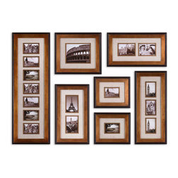 Uttermost - Newark Hanging Photo Collage, Set of 7 - This Collection Of Frames Features A Heavily Antiqued Gold Finish With A Matte Black Outer Edge. Ivory Linen Mats Surround Photos. May Be Hung Horizontal Or Vertical. Holds Photo Sizes: 12-4x6, 1-8x10, 4-5x7. Frame Sizes: 15x44, 17x19, 13x29, 2-14x24 & 2-13x15