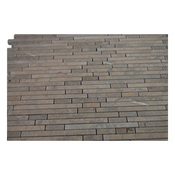 """Torpedo Lagos Gray Marble Mosaic Tiles - sample-TORPEDOLAGOS GREY1/4""""x RNADOM MARBLE TILES 1/4 SHEET SAMPLE You are purchasing a 1/4 sheet sample measuring approximately 3 """" x 12 """". Samples are intended for color comparison purposes, not installation purposes.-Glass Tiles -"""
