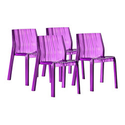 """Zuo - Set of 4 Zuo Purple Ruffle Outdoor Dining Chairs - These stackable seats are made of durable UV-resistant polycarbonate for long-lasting outdoor use as a patio or deck chair. Transparent purple construction and sleek ridged design give them a trendy contemporary look. A wonderful addition to your home from Zuo Modern. Set of 4. Transparent purple polycarbonate construction. UV-resistant. Stackable. 30 3/4"""" high. 17 3/4"""" wide. 21"""" deep. Seat is 16 1/2"""" wide and 17 1/4"""" deep.  Set of 4 purple transparent chairs.   With Radiant Orchid purple color tones.   Transparent polycarbonate construction.    Lightweight lucite acrylic look.  A colorful take on clear or ghost chairs.  UV-resistant.   Stackable.   30 3/4"""" high.   17 3/4"""" wide.   21"""" deep.   Seat is 16 1/2"""" wide and 17 1/4"""" deep."""