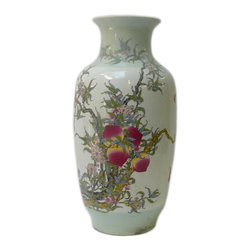 Golden Lotus - Asian Chinese White Porcelain Color Peach Tree Vase - This porcelain vase with white base color and celadon light green around the mouth and the bottom. A series of peaches on  the tree is the theme. Peach symbolizes longevity.