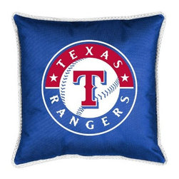 Sports Coverage - MLB Texas Rangers Sidelines Toss Pillow - Make that new officially licensed MLB Texas Rangers Sidelines Toss Pillow look as good as it feels. A must have for any true fan. A New Design - Same great quality!! Coordinating Toss pillow to match jersey material logo Comforter. Pillow is 17 x 17, 100% Polyester Cover and Fill. SIDELINES is trimmed in teams secondary color. 100% Polyester Jersey. Spot Clean only.