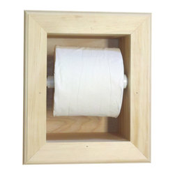None - In the Wall Mega Toilet Paper Holder - This quality stain-grade unfinished pine toilet paper holder installs directly into the wall,for a non-intrusive design. The holder conveniently fits all toilet paper rolls,including jumbo.