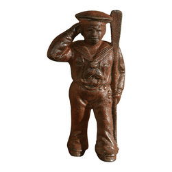Cast Iron Sailor - A fun way to add a nautical touch to a child's room or a curio cabinet, the Sailor Steve Cast Iron Figurine is a limited production product that is so whimsical that you might want to collect several before they are all gone. Lovely when displayed on the shelf and a thoughtful gift for those in the Navy, or who love the seas.