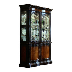 """Hooker Furniture - Preston Ridge Curio China - White glove, in-home delivery included!  Crafted in fine hardwood solids and cherry mahogany and white ash burl veneers, Preston Ridge is enhanced with a dramatic black finish with physical distressing rub-through and contrasting panels to create a rich two-tone look with the timeworn patina of a treasured family heirloom that has been lovingly touched for many generations.  With such distinguished design elements as wood-framed doors with contrasting wood panels and generously scaled base and crown moldings, Preston Ridge will add style to any room in your home!  Two wood-framed glass doors, two wood doors.  Inside Bottom Cabinet: 45 1/2"""" w x 13 1/8"""" d x 24 5/8"""" h  Inside Top Cabinet: 45 1/2"""" w x 13 1/4"""" d x 42 1/4"""" h"""