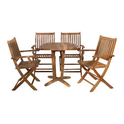 International Home Miami - Amazonia Teak Kansas 5-Piece Teak Dining Set - Great Quality, elegant design patio set, made of 100% high quality teak wood. Enjoy your patio with style with these great sets from our Amazonia Teak outdoor collection