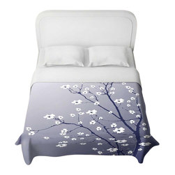 DiaNoche Designs - Blooming Tree Blue Grey Duvet Cover - Lightweight and super soft brushed twill duvet cover sizes twin, queen, king. Cotton poly blend. Ties in each corner to secure insert. Blanket insert or comforter slides comfortably into duvet cover with zipper closure to hold blanket inside. Blanket not included. Dye Sublimation printing adheres the ink to the material for long life and durability. Printed top, khaki colored bottom. Machine washable. Product may vary slightly from image.