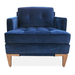 Arden Chair, Venice Navy - I adore the shape and fabric of this navy guest chair. I would place a pair in an entry hall.