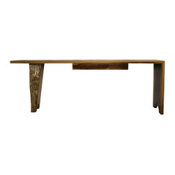 Springhouse Shop and Studio, Inc - Barn Beam Desk Console - A hand-hewn reclaimed antique barn beam gets new life as a leg in this unique and asymmetrical desk or fantastic credenza. The right side features a waterfall edge fabricated from solid black walnut. The desk top slab has been carved by nature- the tunnels were created by insects long gone from the kiln-dried wood- which makes it fascinating and of course, one of a kind. The top is protected with a piece of glass with polished edges. In the center there is a single drawer.  This statement piece makes a great hall table or console.