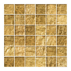 "Susan Jablon Mosaics - Gold Metallic Glass Tile - This glass tile in 2"" gold metallic glass mosaic tiles create a stunning neutral with the wow factor all over it. Pair it with your light, taupe, grey, black or brown toned counter top for a rich, gorgeous look. This opaque champagne shimmer metallic 2 inch glass tile is a golden blush with light brown undertones. Sumptuous in appearance, the unique patterns in metal foil rest beneath an luxuriously deep 8mm of clear glass. They create a gorgeous design opportunity for your dining room, foyer, lobby or any space deserving a rich, opulent atmosphere.It is very easy to install as it comes by the square foot on mesh and it is very easy to clean! About a decade ago, Susan Jablon re-ignited her life-long passion for mosaics and has built a customer-focused, artist-driven, business offering you the very best in glass and decorative tiles and mosaics. We are a glass tile store committed to excellence both personally and professionally. With lines of 100% SCS Qualified recycled tile, 12 colors and 6 shapes of mirror, semi precious turquoise stones from Arizona mines, to color changing dichroic glass. Stainless steel tiles in 8mm and 4mm and 12 designs within each, and anything you can dream of. Please note that the images shown are actual photographs of the tiles however, colors may vary due to the calibration of each individual monitor. Ordering samples of the tiles to verify color is strongly recommended."